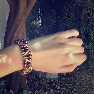 Brown Sparkly beaded Rhinestone Statement Bracelet